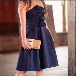 Navy fit and flare cocktail dress